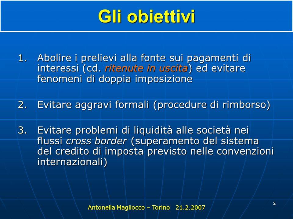 2 Gli obiettivi 1.Abolire i prelievi alla fonte sui pagamenti di interessi (cd.
