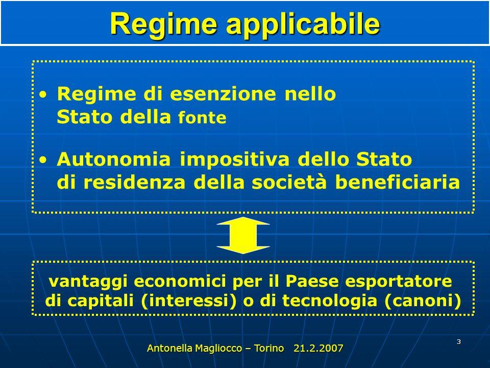 3 Regime di esenzione nello Stato della fonte Autonomia impositiva dello Stato di residenza della società beneficiaria Regime applicabile vantaggi economici per il Paese esportatore di capitali (interessi) o di tecnologia (canoni)