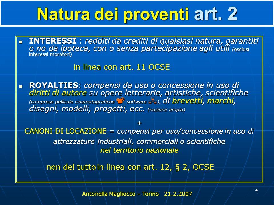 4 Natura dei proventi art.