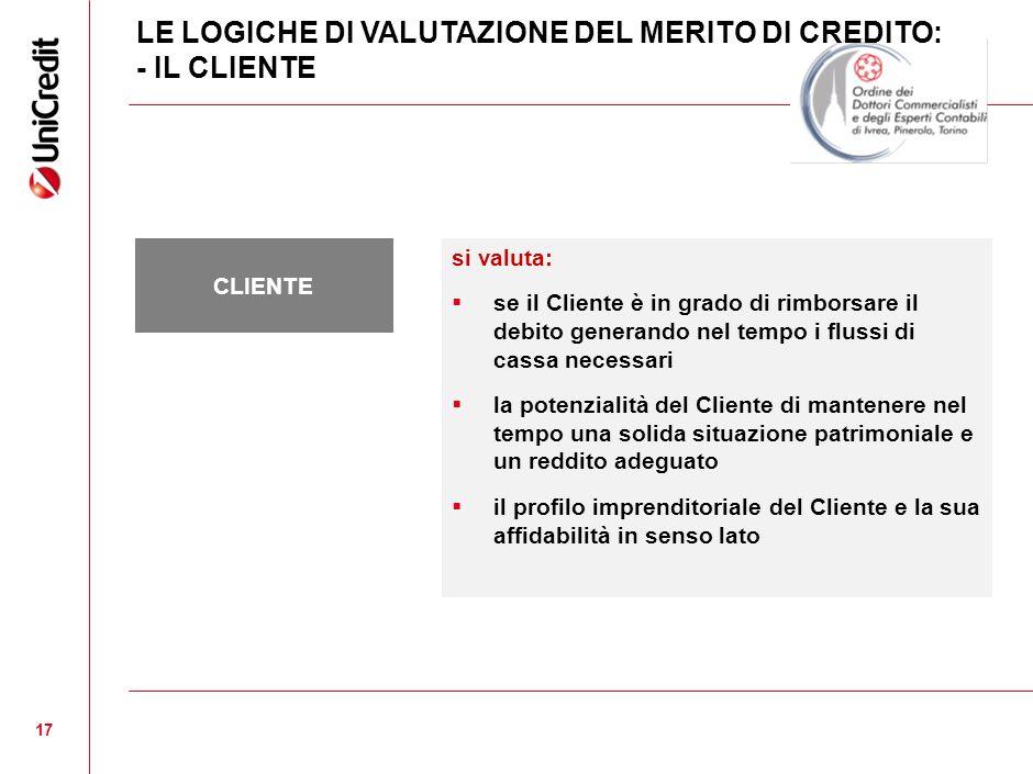 17 si valuta: se il Cliente è in grado di rimborsare il debito generando nel tempo i flussi di cassa necessari la potenzialità del Cliente di mantener