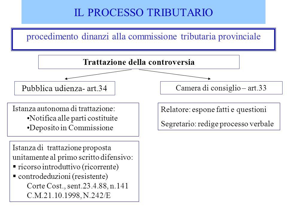 IL PROCESSO TRIBUTARIO procedimento dinanzi alla commissione tributaria provinciale Istanza di trattazione proposta unitamente al primo scritto difens
