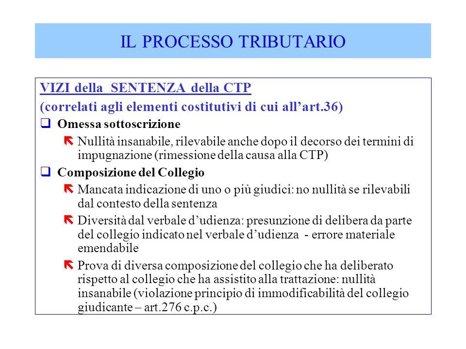 VIZI della SENTENZA della CTP (correlati agli elementi costitutivi di cui allart.36) qOmessa sottoscrizione ëNullità insanabile, rilevabile anche dopo