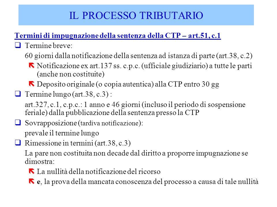 Termini di impugnazione della sentenza della CTP – art.51, c.1 qTermine breve: 60 giorni dalla notificazione della sentenza ad istanza di parte (art.3