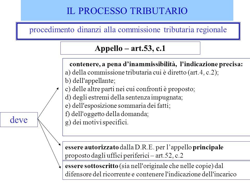 procedimento dinanzi alla commissione tributaria regionale contenere, a pena dinammissibilità, l'indicazione precisa: a) della commissione tributaria