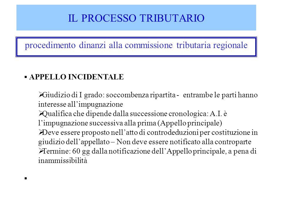 IL PROCESSO TRIBUTARIO procedimento dinanzi alla commissione tributaria regionale APPELLO INCIDENTALE Giudizio di I grado: soccombenza ripartita - ent
