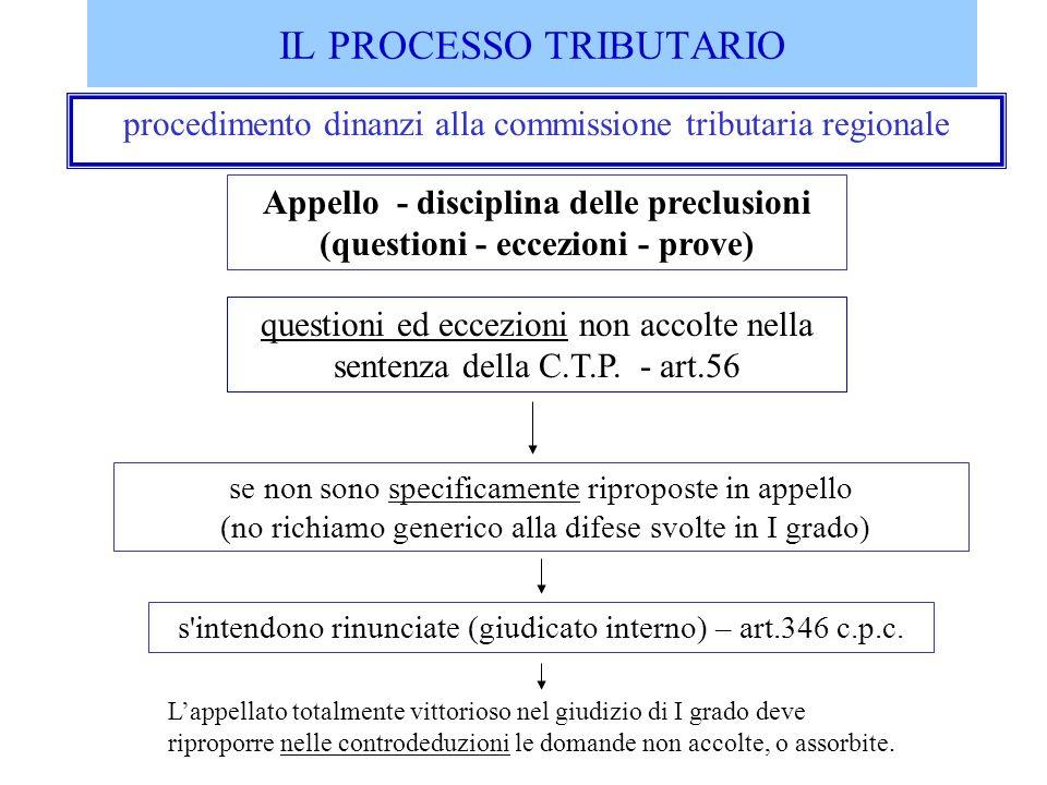 procedimento dinanzi alla commissione tributaria regionale Appello - disciplina delle preclusioni (questioni - eccezioni - prove) se non sono specific