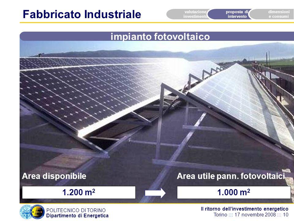 POLITECNICO DI TORINO Dipartimento di Energetica Il ritorno dellinvestimento energetico Torino ::: 17 novembre 2008 ::: 10 1.200 m 2 valutazione investimento proposta di intervento dimensioni e consumi Area disponibile impianto fotovoltaico Fabbricato Industriale 1.000 m 2 Area utile pann.