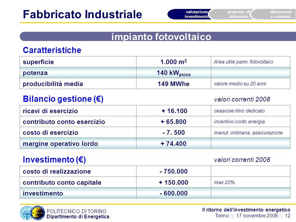 POLITECNICO DI TORINO Dipartimento di Energetica Il ritorno dellinvestimento energetico Torino ::: 17 novembre 2008 ::: 12 valutazione investimento proposta di intervento dimensioni e consumi Caratteristiche superficie1.000 m 2 Area utile pann.