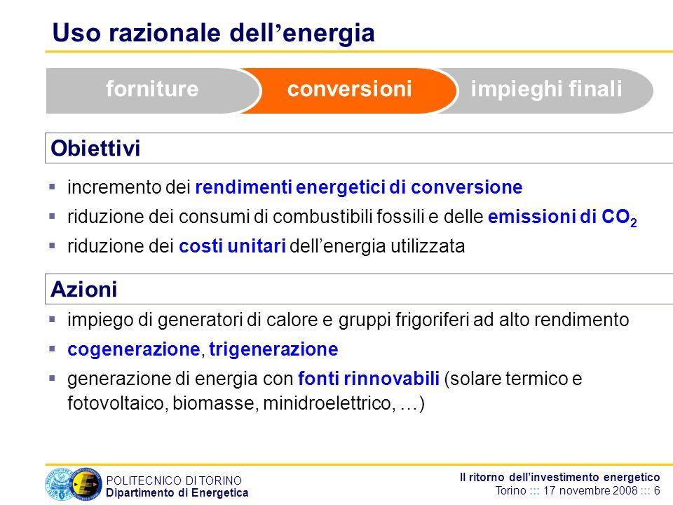 POLITECNICO DI TORINO Dipartimento di Energetica Il ritorno dellinvestimento energetico Torino ::: 17 novembre 2008 ::: 6 Uso razionale dell energia O