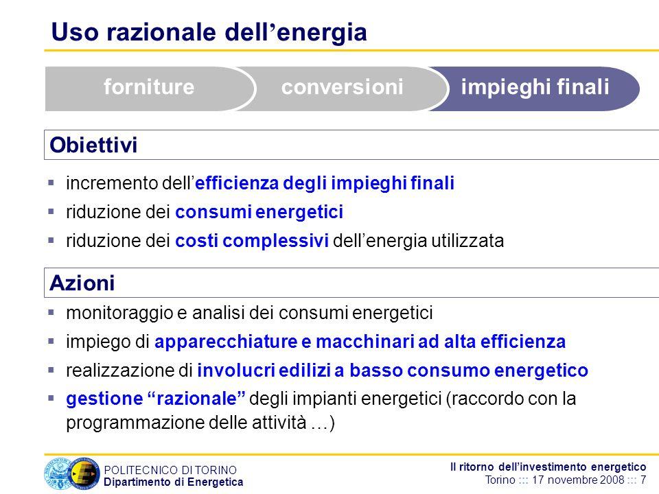 POLITECNICO DI TORINO Dipartimento di Energetica Il ritorno dellinvestimento energetico Torino ::: 17 novembre 2008 ::: 7 Uso razionale dell energia O