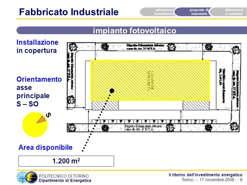 POLITECNICO DI TORINO Dipartimento di Energetica Il ritorno dellinvestimento energetico Torino ::: 17 novembre 2008 ::: 9 1.200 m 2 valutazione invest