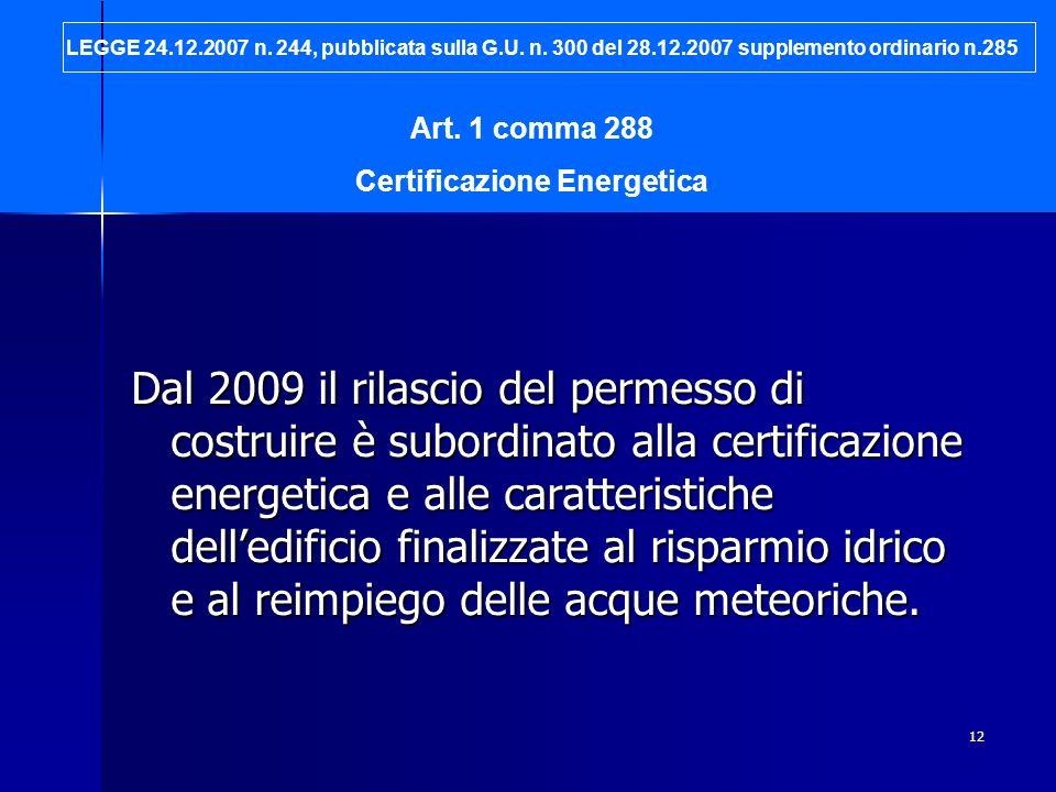 12 Dal 2009 il rilascio del permesso di costruire è subordinato alla certificazione energetica e alle caratteristiche delledificio finalizzate al risp