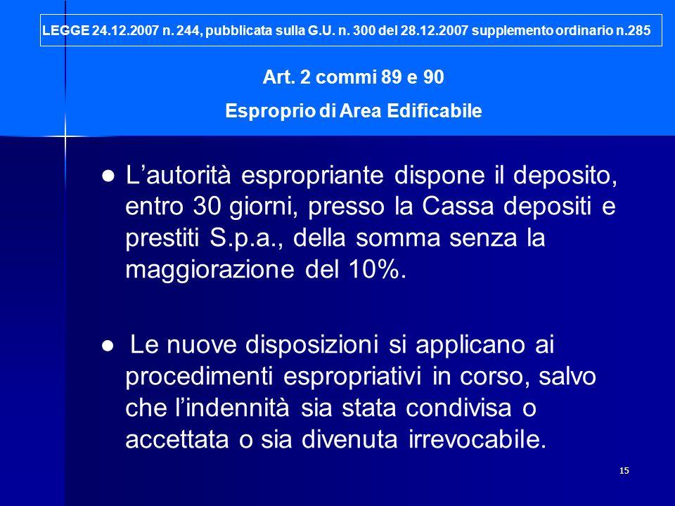 15 Lautorità espropriante dispone il deposito, entro 30 giorni, presso la Cassa depositi e prestiti S.p.a., della somma senza la maggiorazione del 10%