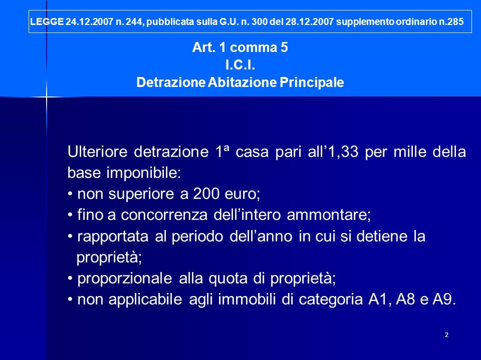 2 Art. 1 comma 5 I.C.I. Detrazione Abitazione Principale Ulteriore detrazione 1ª casa pari all1,33 per mille della base imponibile: non superiore a 20