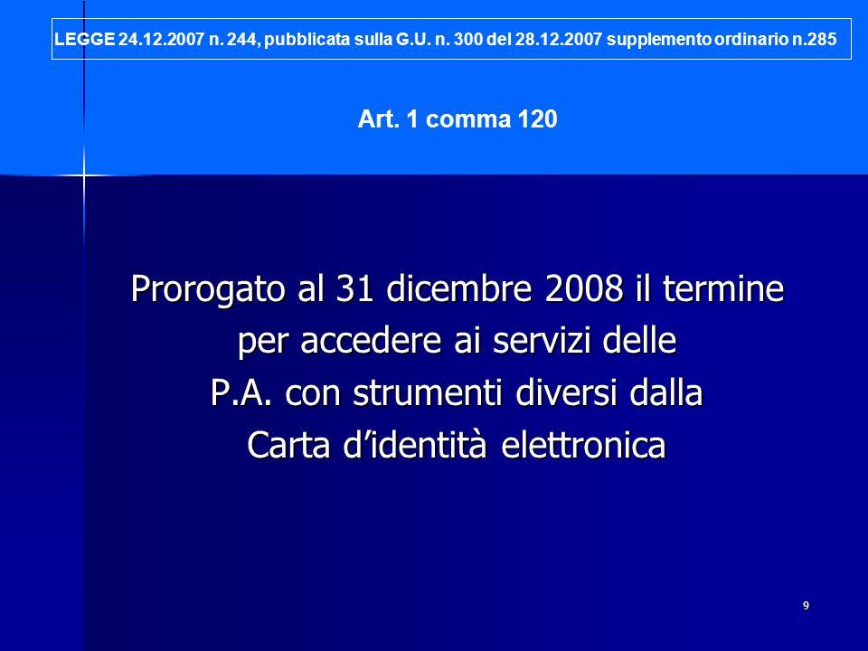 9 Prorogato al 31 dicembre 2008 il termine per accedere ai servizi delle P.A. con strumenti diversi dalla Carta didentità elettronica Art. 1 comma 120