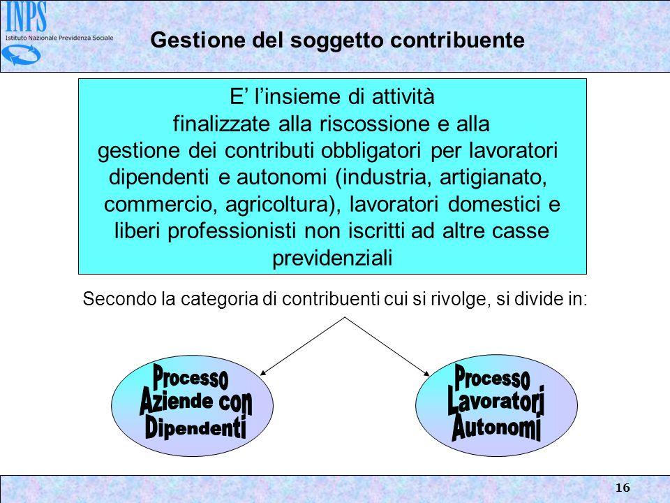 16 E linsieme di attività finalizzate alla riscossione e alla gestione dei contributi obbligatori per lavoratori dipendenti e autonomi (industria, art