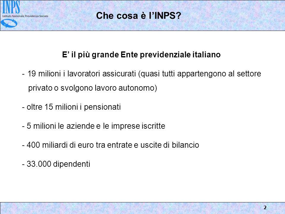 2 E il più grande Ente previdenziale italiano - 19 milioni i lavoratori assicurati (quasi tutti appartengono al settore privato o svolgono lavoro auto