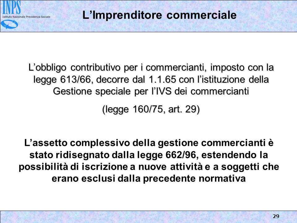 29 LImprenditore commerciale Lobbligo contributivo per i commercianti, imposto con la legge 613/66, decorre dal 1.1.65 con listituzione della Gestione