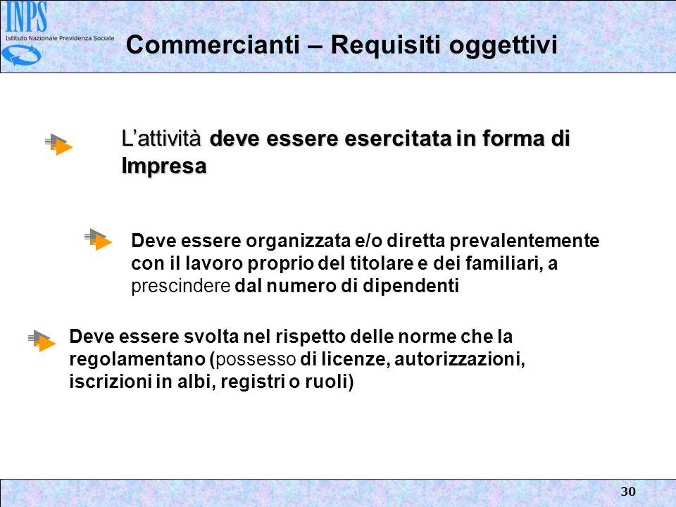 30 Commercianti – Requisiti oggettivi Lattività deve essere esercitata in forma di Impresa Deve essere organizzata e/o diretta prevalentemente con il