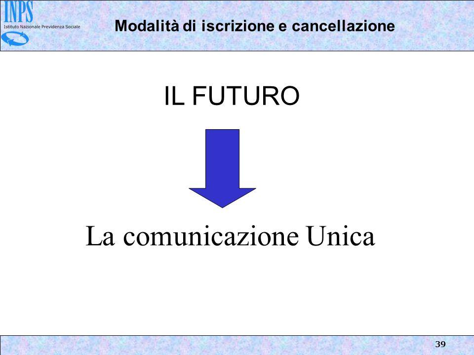 39 La comunicazione Unica IL FUTURO Modalità di iscrizione e cancellazione