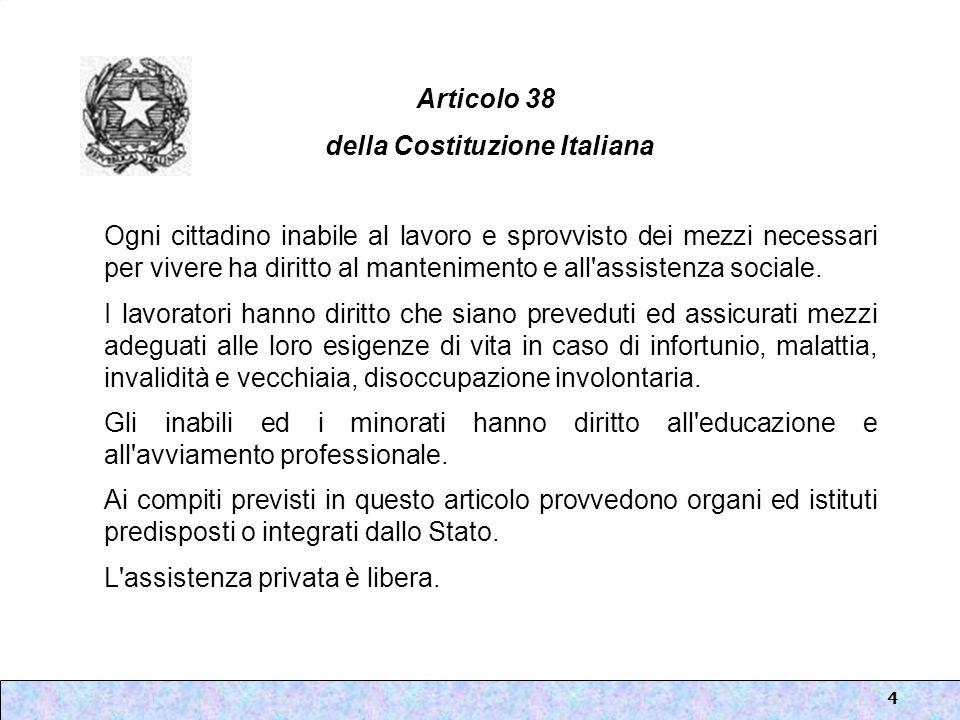 4 Articolo 38 della Costituzione Italiana Ogni cittadino inabile al lavoro e sprovvisto dei mezzi necessari per vivere ha diritto al mantenimento e al