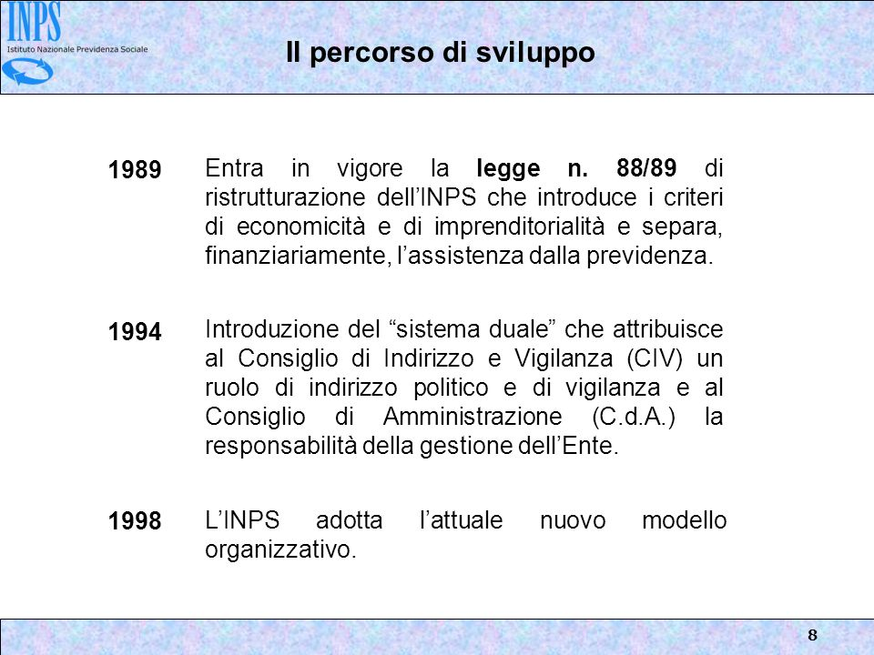 8 Entra in vigore la legge n. 88/89 di ristrutturazione dellINPS che introduce i criteri di economicità e di imprenditorialità e separa, finanziariame