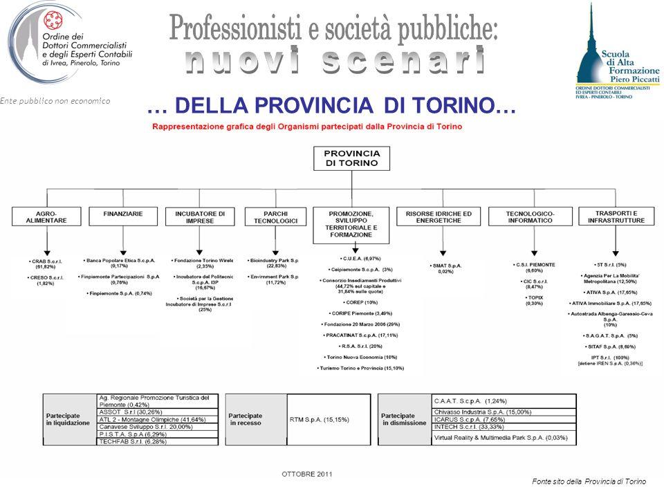 Ente pubblico non economico … DELLA PROVINCIA DI TORINO… Fonte sito della Provincia di Torino
