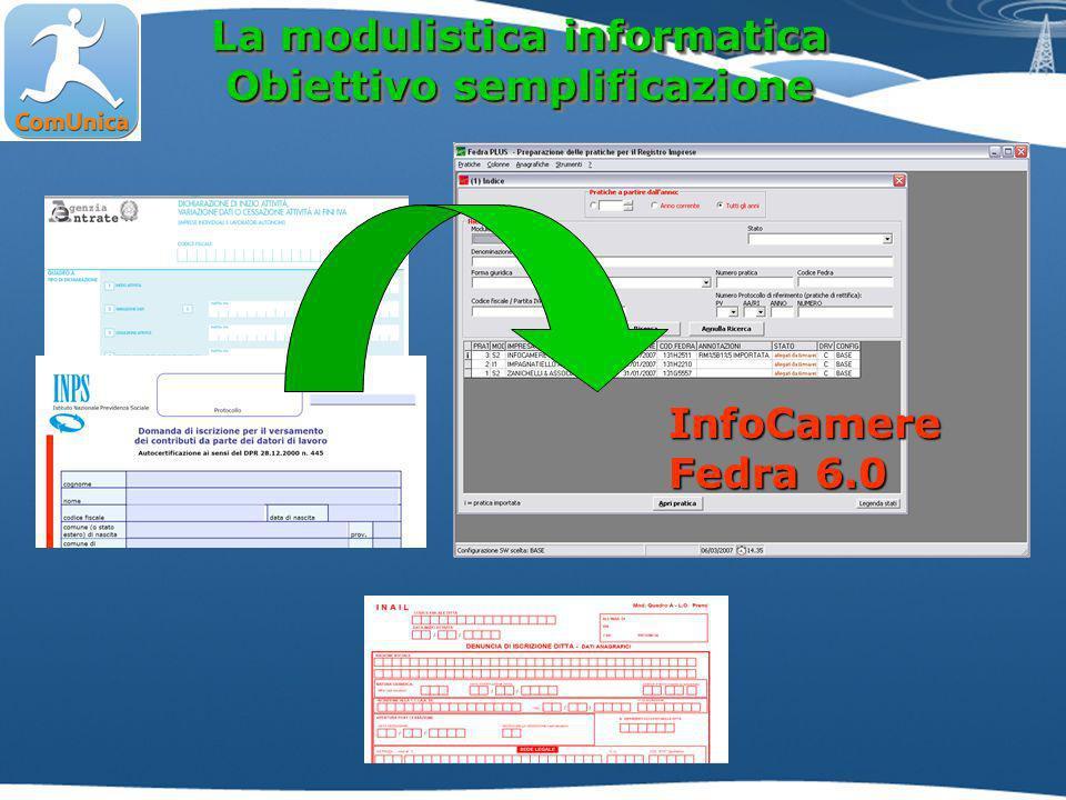 La modulistica informatica Obiettivo semplificazione La modulistica informatica Obiettivo semplificazione InfoCamere Fedra 6.0