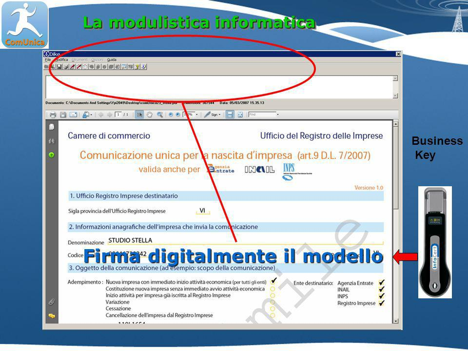 La modulistica informatica Firma digitalmente il modello Business Key