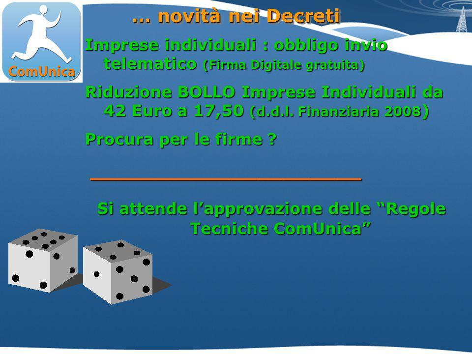 Imprese individuali : obbligo invio telematico (Firma Digitale gratuita) Riduzione BOLLO Imprese Individuali da 42 Euro a 17,50 (d.d.l.