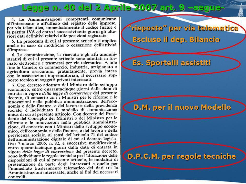 Legge n.40 del 2 Aprile 2007 art. 9 –segue- risposte per via telematica D.M.