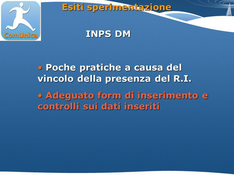 INPS DM Poche pratiche a causa del vincolo della presenza del R.I.