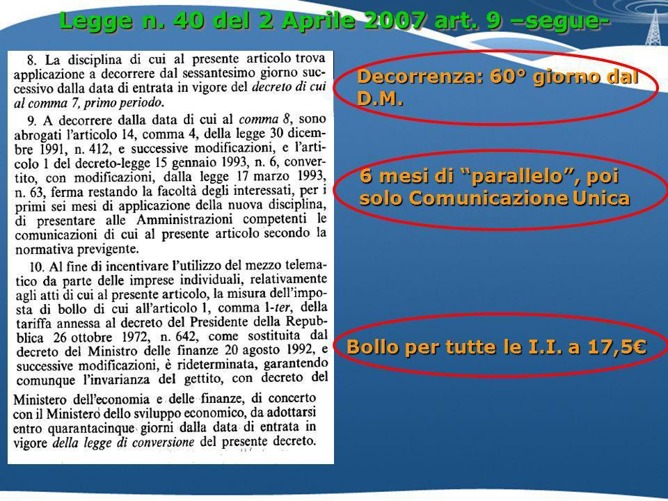 Legge n.40 del 2 Aprile 2007 art. 9 –segue- Decorrenza: 60° giorno dal D.M.