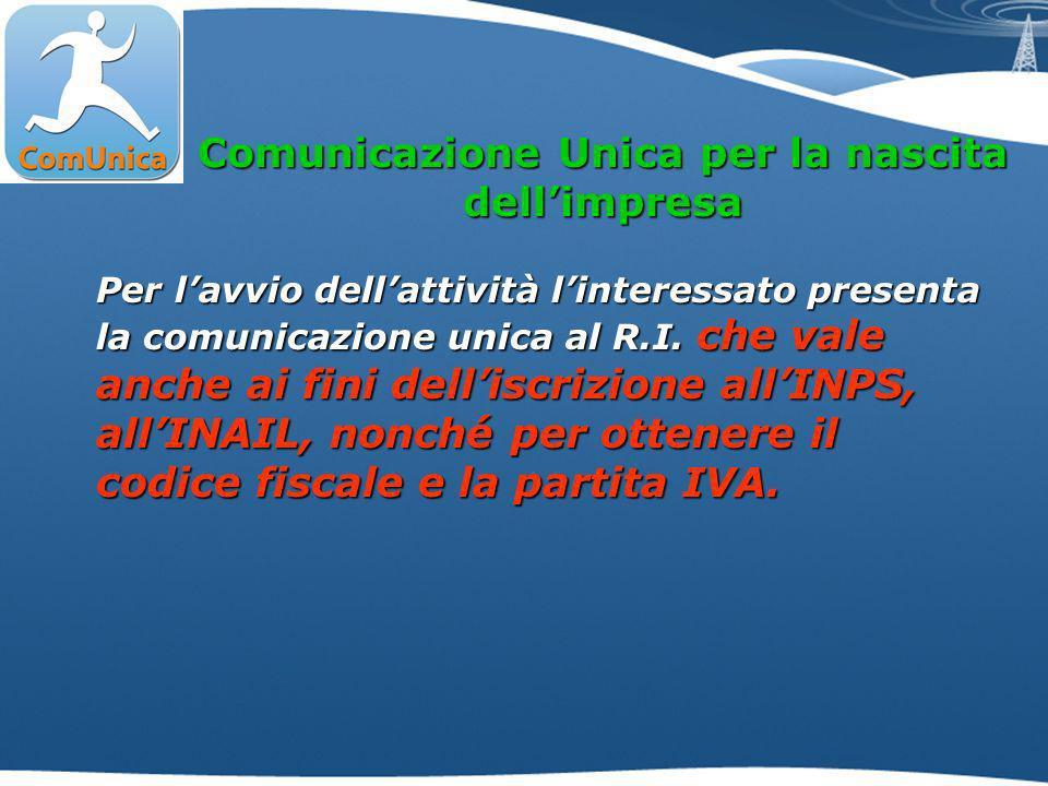 Comunicazione Unica per la nascita dellimpresa Per lavvio dellattività linteressato presenta la comunicazione unica al R.I.