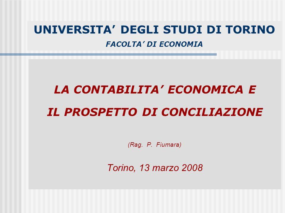 UNIVERSITA DEGLI STUDI DI TORINO FACOLTA DI ECONOMIA LA CONTABILITA ECONOMICA E IL PROSPETTO DI CONCILIAZIONE (Rag.