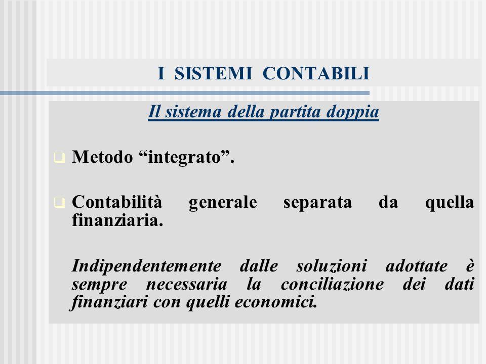 I SISTEMI CONTABILI Il sistema della partita doppia Metodo integrato.