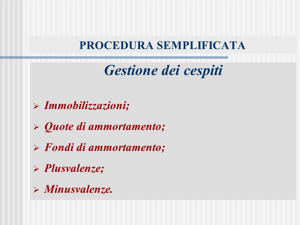 PROCEDURA SEMPLIFICATA Gestione dei cespiti Immobilizzazioni; Quote di ammortamento; Fondi di ammortamento; Plusvalenze; Minusvalenze.