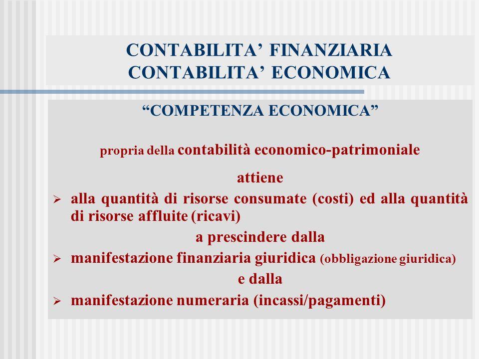 CONTABILITA FINANZIARIA CONTABILITA ECONOMICA COMPETENZA ECONOMICA propria della contabilità economico-patrimoniale attiene alla quantità di risorse consumate (costi) ed alla quantità di risorse affluite (ricavi) a prescindere dalla manifestazione finanziaria giuridica (obbligazione giuridica) e dalla manifestazione numeraria (incassi/pagamenti)