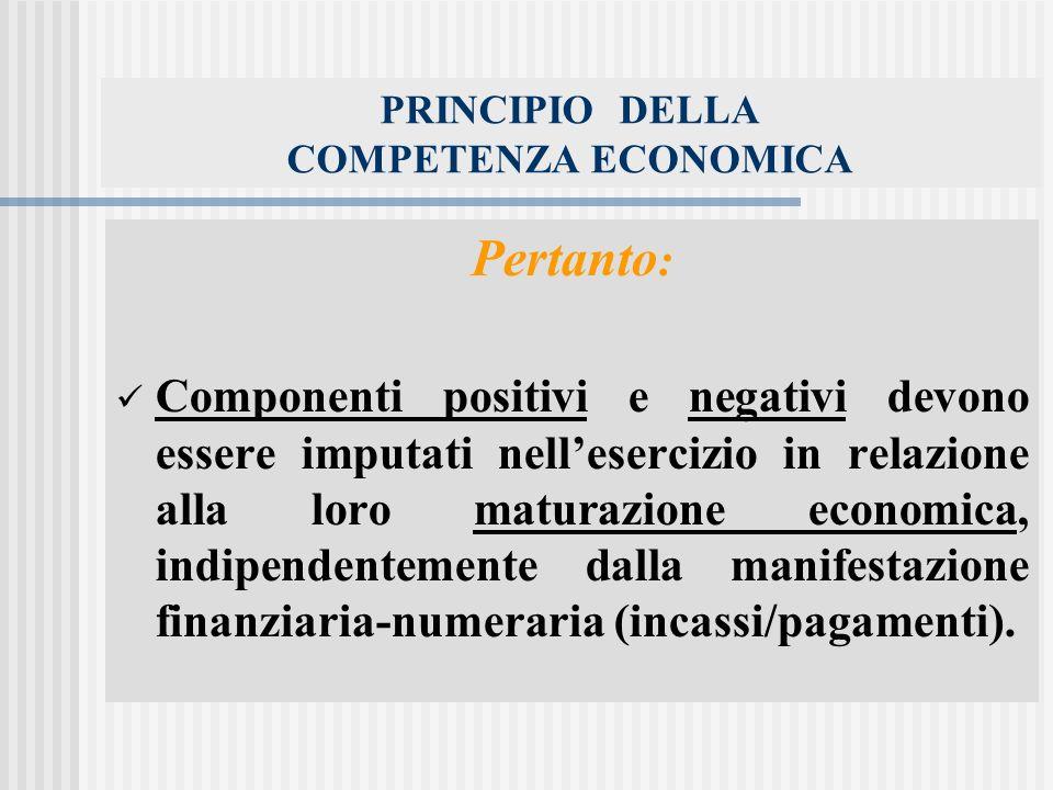 PRINCIPIO DELLA COMPETENZA ECONOMICA Pertanto : Componenti positivi e negativi devono essere imputati nellesercizio in relazione alla loro maturazione economica, indipendentemente dalla manifestazione finanziaria-numeraria (incassi/pagamenti).
