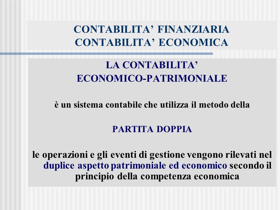 CONTABILITA FINANZIARIA CONTABILITA ECONOMICA LA CONTABILITA ECONOMICO-PATRIMONIALE è un sistema contabile che utilizza il metodo della PARTITA DOPPIA le operazioni e gli eventi di gestione vengono rilevati nel duplice aspetto patrimoniale ed economico secondo il principio della competenza economica