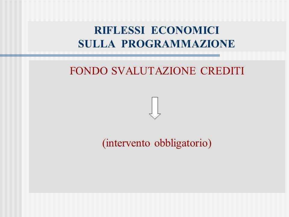 RIFLESSI ECONOMICI SULLA PROGRAMMAZIONE FONDO SVALUTAZIONE CREDITI (intervento obbligatorio)