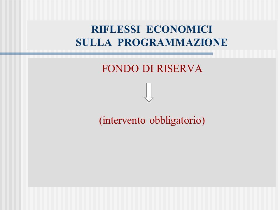 RIFLESSI ECONOMICI SULLA PROGRAMMAZIONE FONDO DI RISERVA (intervento obbligatorio)