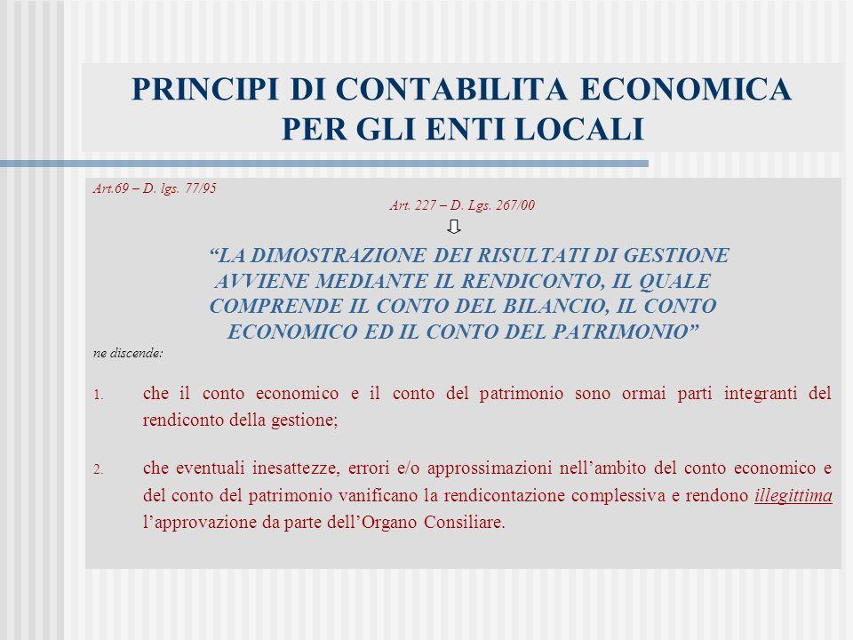 PRINCIPI DI CONTABILITA ECONOMICA PER GLI ENTI LOCALI Art.69 – D.