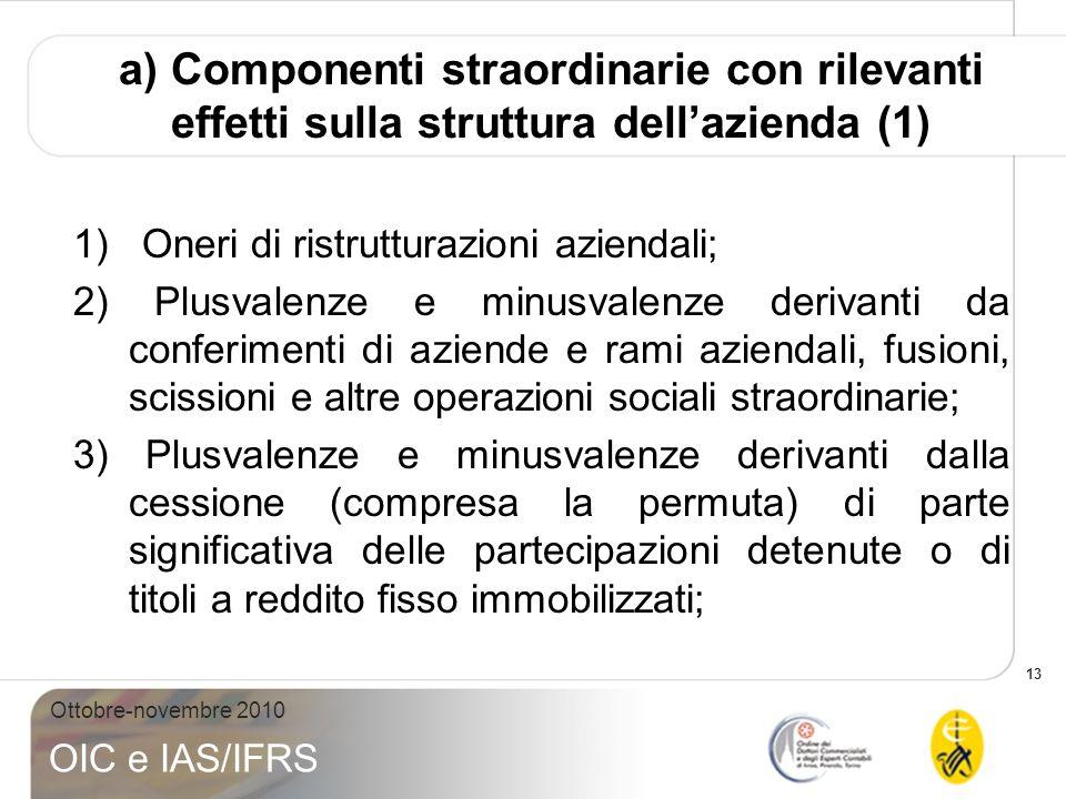 13 Ottobre-novembre 2010 OIC e IAS/IFRS a) Componenti straordinarie con rilevanti effetti sulla struttura dellazienda (1) 1) Oneri di ristrutturazioni