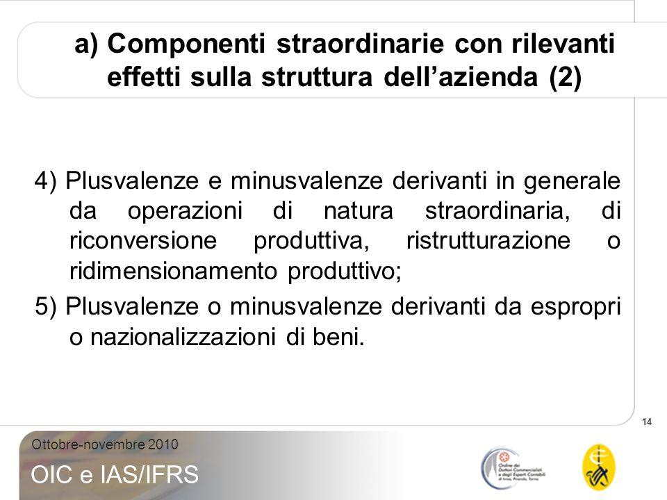 14 Ottobre-novembre 2010 OIC e IAS/IFRS 4) Plusvalenze e minusvalenze derivanti in generale da operazioni di natura straordinaria, di riconversione pr