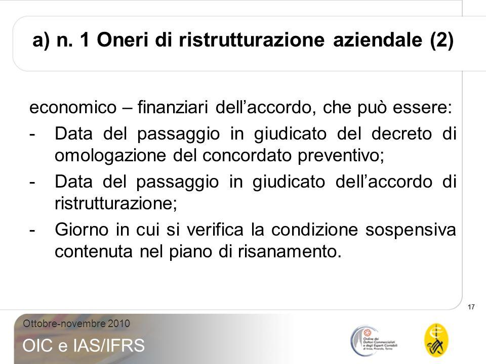 17 Ottobre-novembre 2010 OIC e IAS/IFRS economico – finanziari dellaccordo, che può essere: -Data del passaggio in giudicato del decreto di omologazio