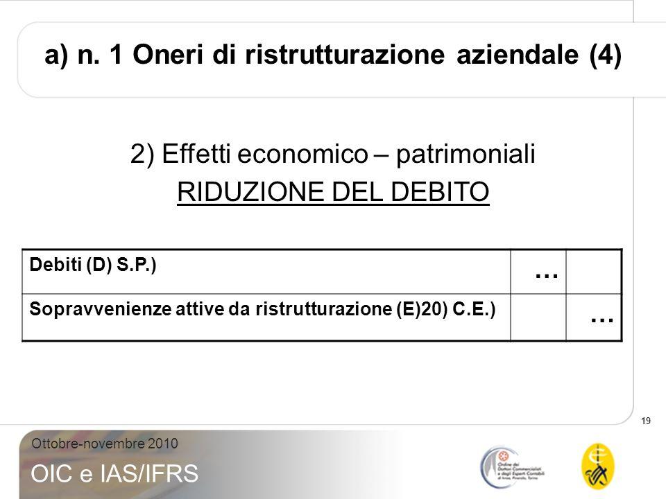 19 Ottobre-novembre 2010 OIC e IAS/IFRS Debiti (D) S.P.) … Sopravvenienze attive da ristrutturazione (E)20) C.E.) … 2) Effetti economico – patrimonial