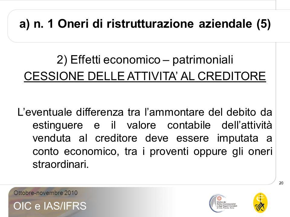 20 Ottobre-novembre 2010 OIC e IAS/IFRS 2) Effetti economico – patrimoniali CESSIONE DELLE ATTIVITA AL CREDITORE Leventuale differenza tra lammontare