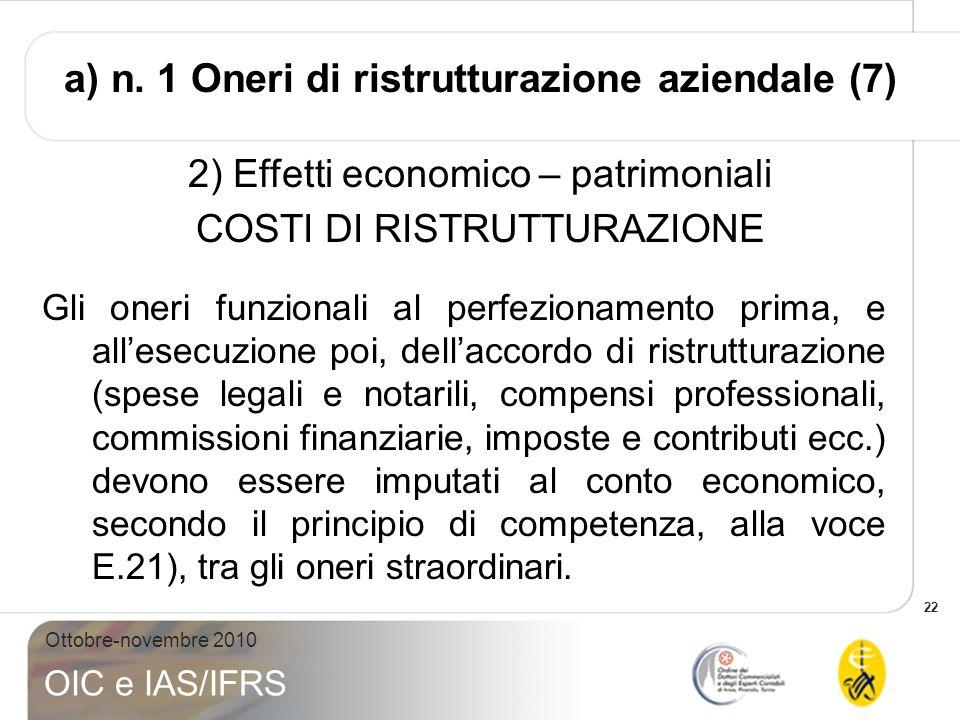 22 Ottobre-novembre 2010 OIC e IAS/IFRS 2) Effetti economico – patrimoniali COSTI DI RISTRUTTURAZIONE Gli oneri funzionali al perfezionamento prima, e