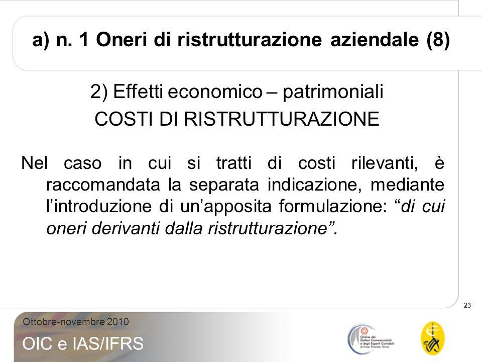 23 Ottobre-novembre 2010 OIC e IAS/IFRS 2) Effetti economico – patrimoniali COSTI DI RISTRUTTURAZIONE Nel caso in cui si tratti di costi rilevanti, è